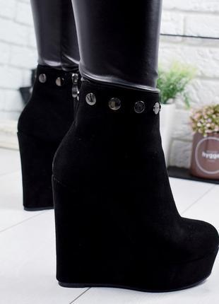 ❤ женские черные демисезонные осенние ботинки ботильоны сапоги на танкетке ❤