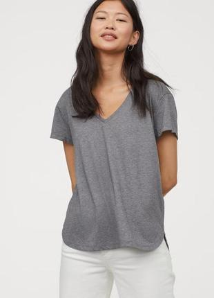 Базовая хлопковая футболка меланжевый топ с v-вырезом новая коллекция