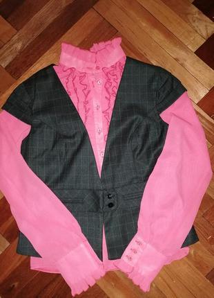 Брючный классический деловой костюм, брюки, жилетка, блузка шифоновая
