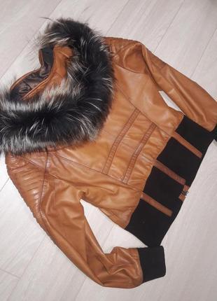 Кожаная куртка с натуральным мехом rubis.3 фото