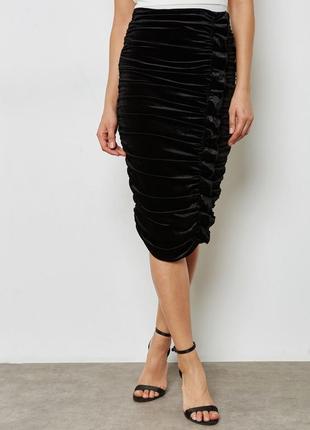 Красивая чёрная бархатная велюровая юбка карандаш миди