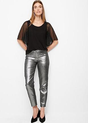 Стильные брюки, серебристые штаны