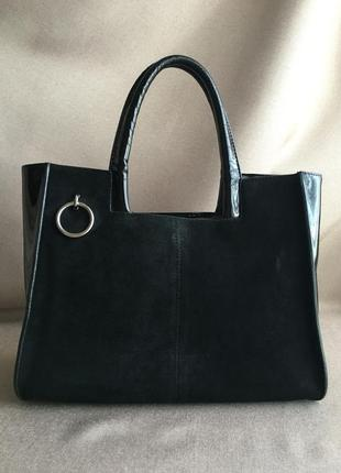 Черная деловая сумка лаковая кожа/замша