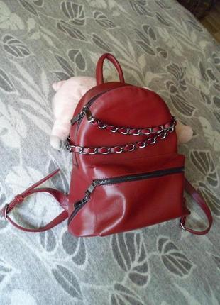 Крутой кожаный городской рюкзак с цепями из натуральной кожи