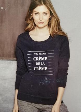 Повседневный пуловер толстовка с надписью синий