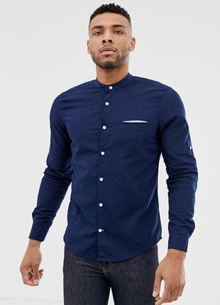 Темно-синяя рубашка с воротником на пуговице pull&bear join life
