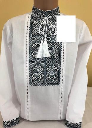 Ексклюзивна вишиванка для хлопчика (дизайнерська на сорочковій тканині)