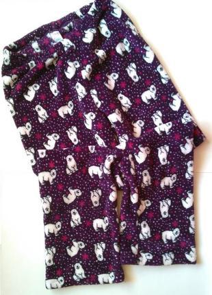 10-12 теплые плюшевые махровые штанишки штаны пижама для дома сна медведи мишки