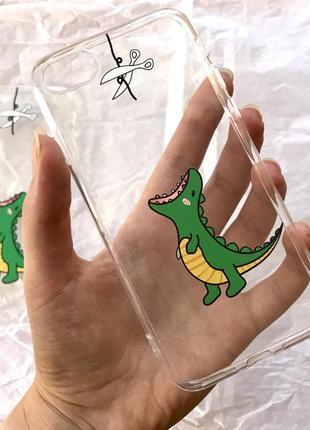 Чехол с динозавриком на айфон iphone 7 8 7+ 8+ 7 plus 8 plus 7 плюс 8 плюс