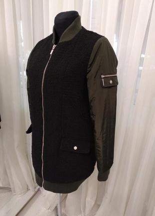 Стильный удленненный теплый бомбер,куртка ,утепленная подкладка next