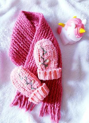 Няшный/зимний/вязаный комплект/шарфик с варежками h&m.