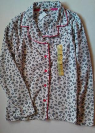 12-14 новая теплая плюшевыя флисовая пижама кофта для дома сна на пуговках