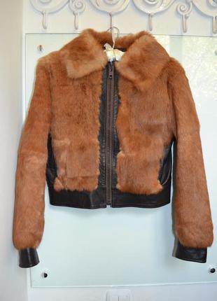 Скидка 24 часа! модная шуба курточка натуральный мех и кожа