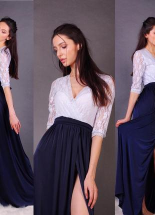 Вечернее платье в пол с разрезом, вырезом