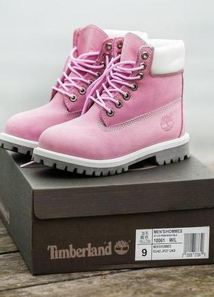 Шикарные женские зимние ботинки timberland pink 😍 (с мехом)