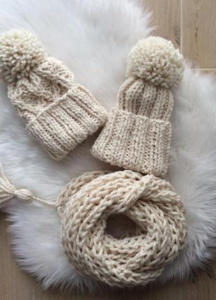 Комплект шапка и снуд /хомут полушерсть