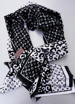 Louis vuitton шарф кашемировый теплый черно белый