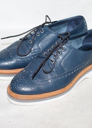 Италия santoni 100% натуральная кожа стильные туфли броги на платформе 37 размер