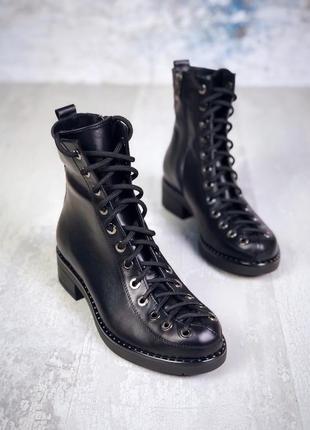 Хит-2019 натуральная кожа люксовые осенние кожаные ботинки с эффектной шнуровкой