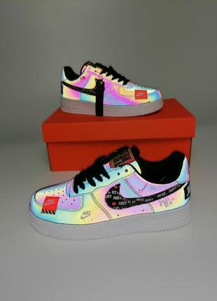 Женские кроссовки nike air force 1 low just do it reflective