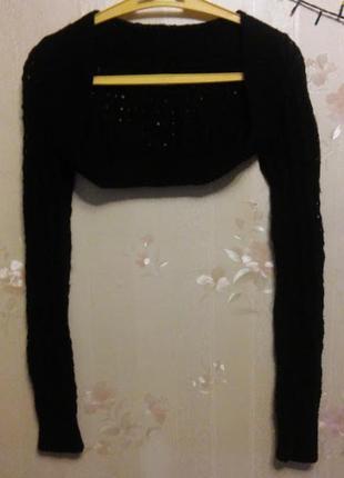 Вязаная накидка, кофта болеро, очень короткая, с длинным узким рукавом, шерстяная