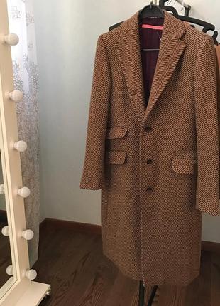 Класичне кашемірове пальто в йолочку