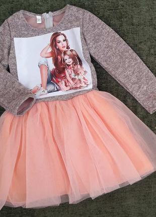 Ангоровое трикотажное платье на девочку 4-6 лет