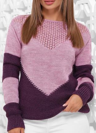 Женский вязаный двухцветный сиренево-фиолетовый свитер