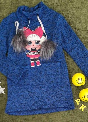 Платье-туника на флисе на девочку 4-7 лет