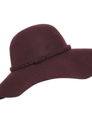 Стильная шерстяная шляпа с мягкими полями цвет марсала бургунди бордо