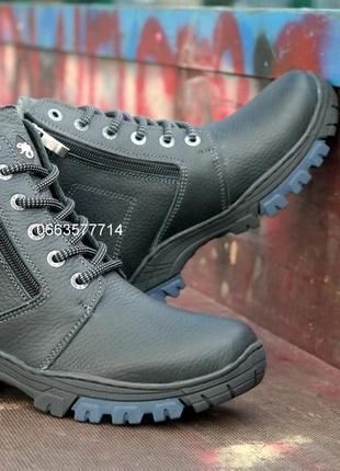 Крепчайшие подростковые кожаные зимние ботинки 2 молнии толстая кожа ноские