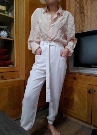 Белые брюки джоггеры высокая талия посадка topshop