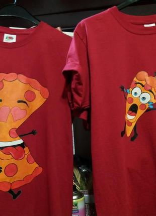 Парные футболки с пиццой /  ручная робота