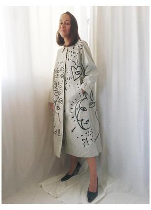Оригинал хлопковый разрисованный плащ burberry кастомизированный винтажный