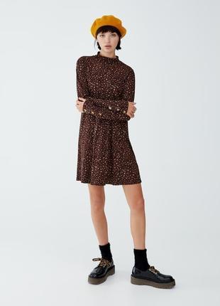 Платье свободного кроя трапеция принт леопард с пуговицами качественное новое