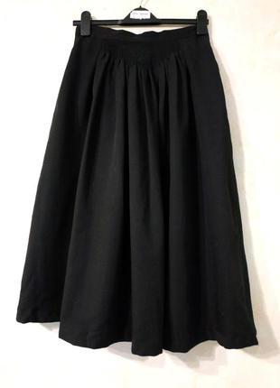 Превосходная шерстяная плиссированная юбка миди с красивой кокеткой/юбка шерсть плиссе