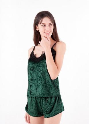 Женская пижама из велюра изумрудного цвета от производителя!