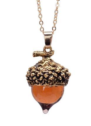 Кулон прозрачный желудь ожерелье цепочка шарм жолудь жёлудь золото янтарь