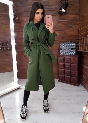 Стильное кашемировое пальто  приталенное поясом