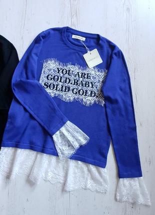 Модный свитерок с француским кружевом...италия.