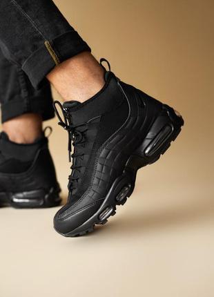 Шикарные мужские ботинки nike air max 95 sneakerboot black 😃(осень зима)