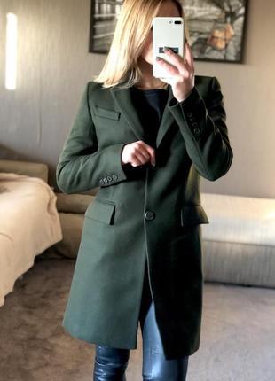 Зеленое шерстяное пальто zara