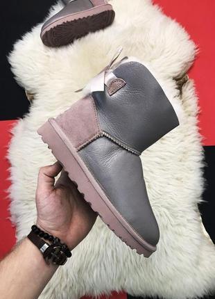 Серые кожаные угги ugg mini bailey bow 2 grey