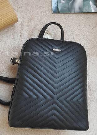 Рюкзак david jones 6146-2t black черный оригинал городской стеганый рюкзачок