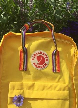 Рюкзак канкен fjallraven kanken сумка портфель classic 16л yellow rainbow