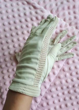 Осінні бежеві рукавиці перчатки