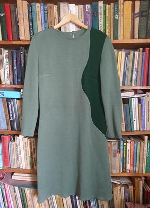 Вязаный теплый костюм комплект _платье-футляр и пальто-кардиган_цвет оливы