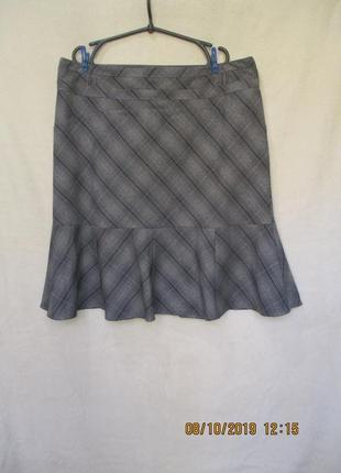 Красивая юбка миди с воланом по низу/в клетку/батал uk 20/наш 52-54/в офис