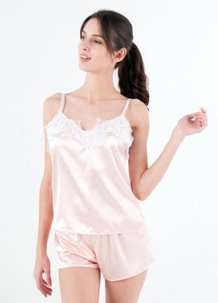 Жіноча атласна піжама майка шорти персик с білим мереживом