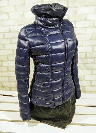 Синяя  демисезонная куртка косуха приталенная